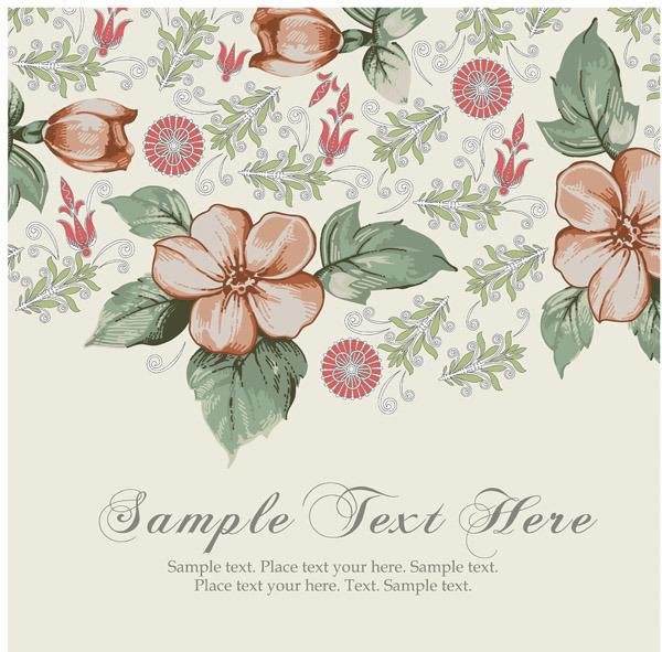 矢量素雅树叶花朵背景花纹图片