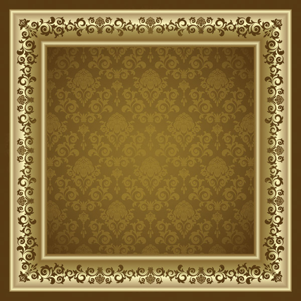 矢量经典欧式花纹背景相框素材图片