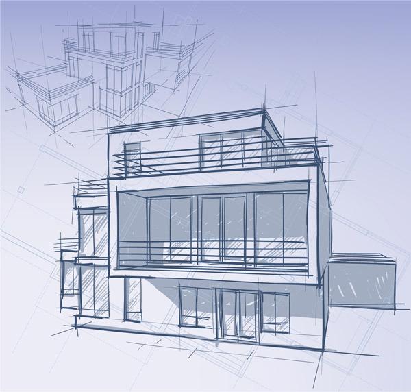 矢量建筑手绘图片素材