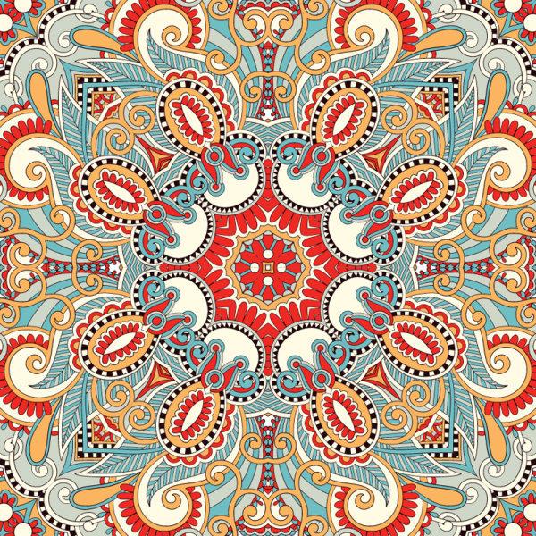 民族风装饰画-矢量绚丽古典花纹图案素材矢量图免费下载 千图网