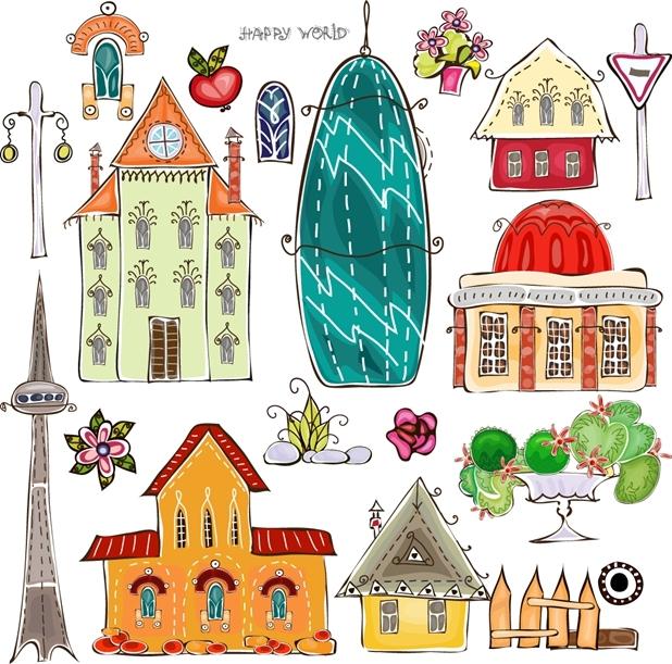矢量城市建筑卡通图片素材
