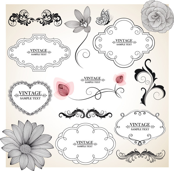 矢量复古花卉边框素材图片图片