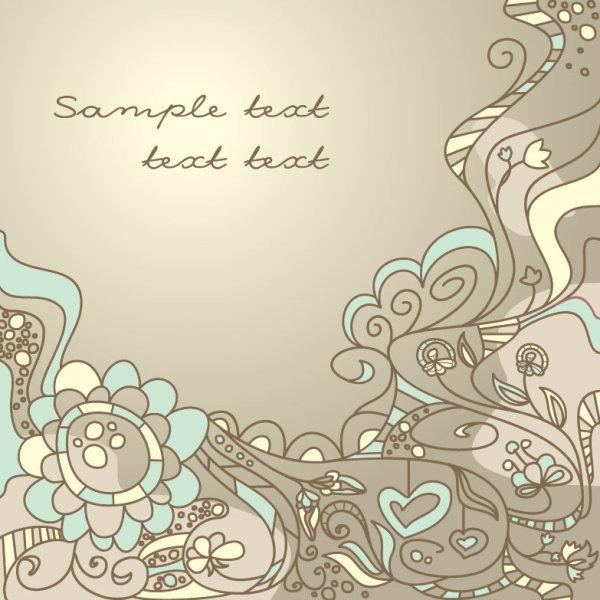 手绘花朵底纹背景矢量图 经典 花纹 背景 底纹 图案 线条 免费下载