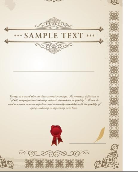 欧式花纹边框证书矢量素材