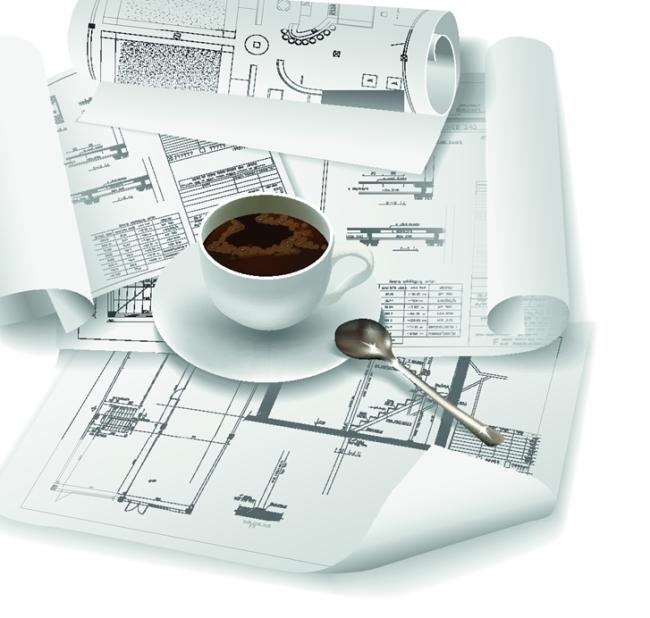 矢量手绘图纸建筑结构图素材