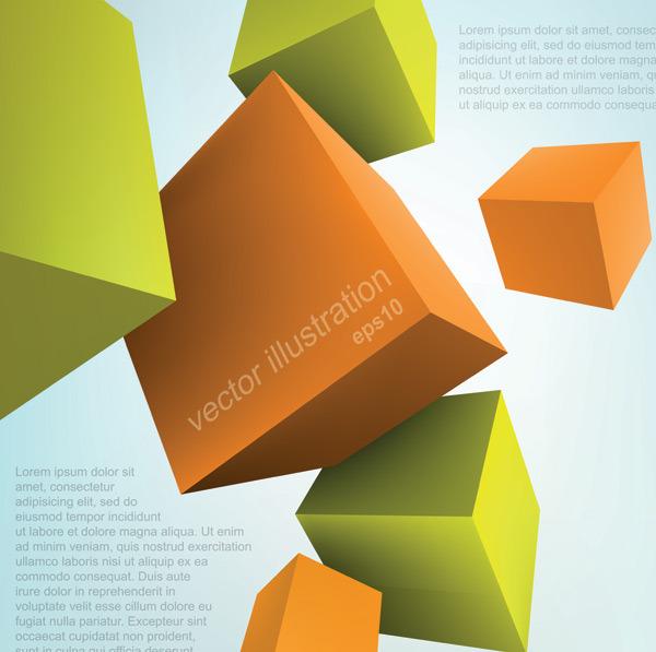 3d立体几何图形创意设计矢量