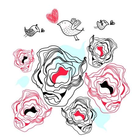 矢量可爱玫瑰花手绘图片素材