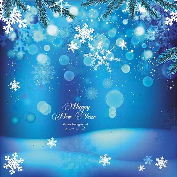 圣诞蓝色雪花背景