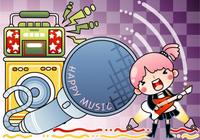 矢量卡通人物音乐元素插画素材