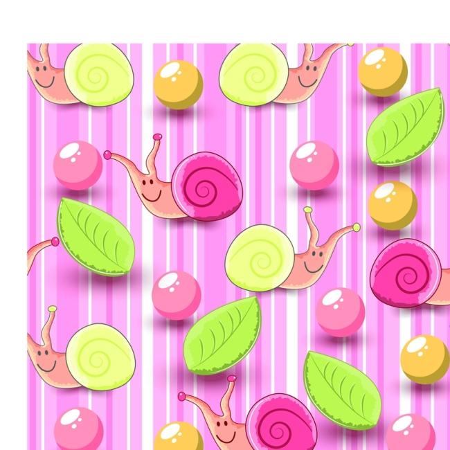 矢量彩色手绘蜗牛图案素材