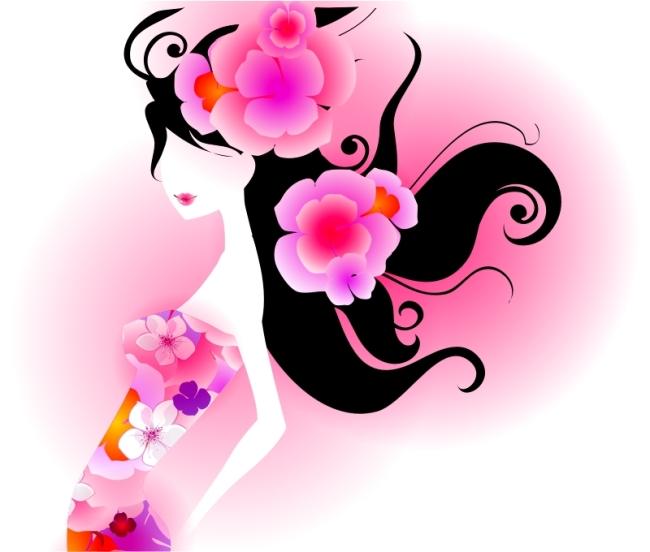 时尚美女 彩绘女郎 插画 美女头像 图片素材