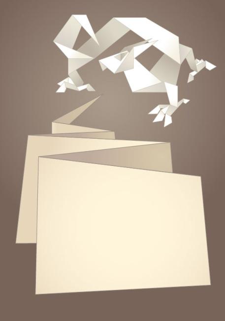 龙形 手工 折纸 语言框 纸条 图片素材
