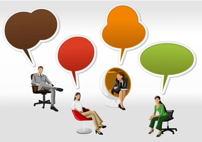 矢量彩色商务对话框素材