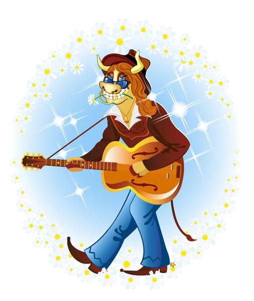 弹吉他的卡通人物