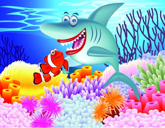 矢量卡通海底生物素材