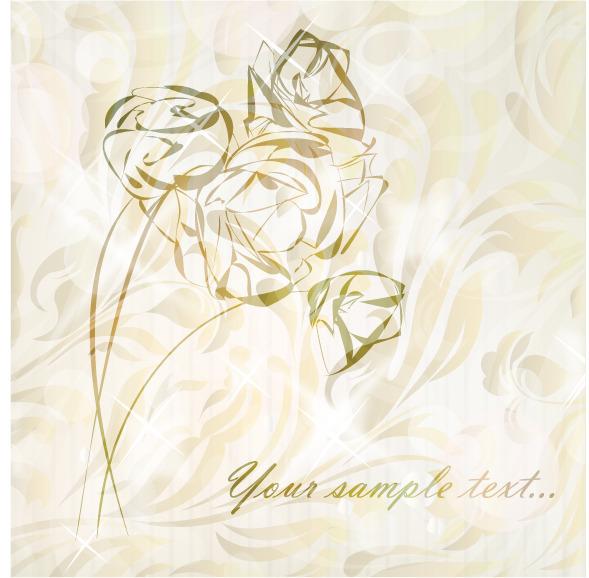 手绘淡彩玫瑰矢量素材