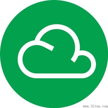 绿色背景云朵图标