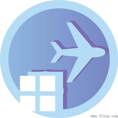 浅蓝色飞机房子图标矢量图免费下载-千图网www.58pic.