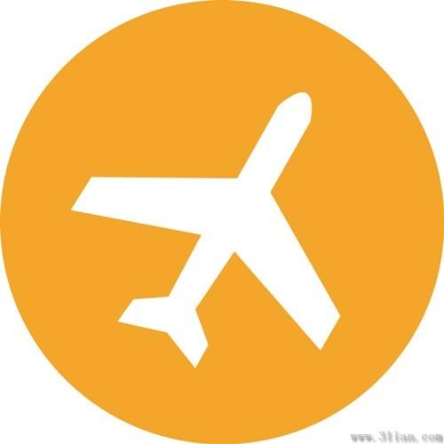 橙色飞机图标免费下载