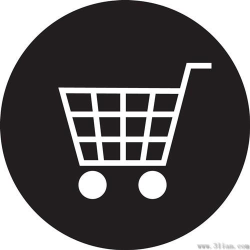 黑色背景购物车图标免费下载