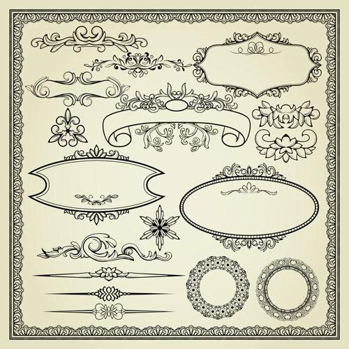 欧式花纹花边边框圆环