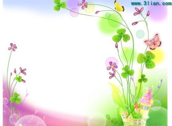 花朵蝴蝶边框素材