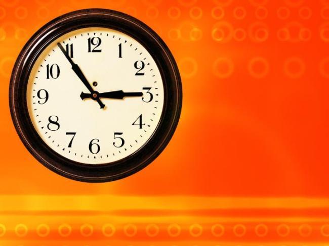 时钟ppt模板橙色背景