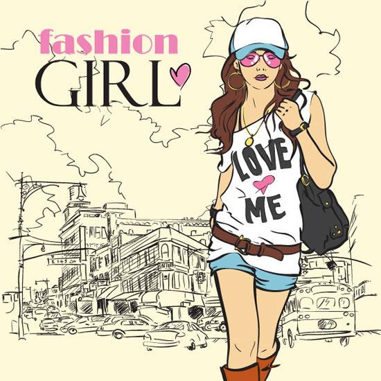 卡通时尚美女素材免费下载