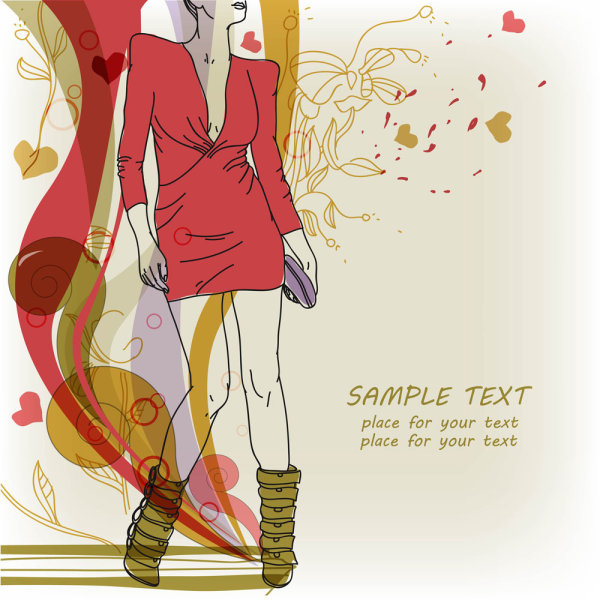 时尚手绘美女插画