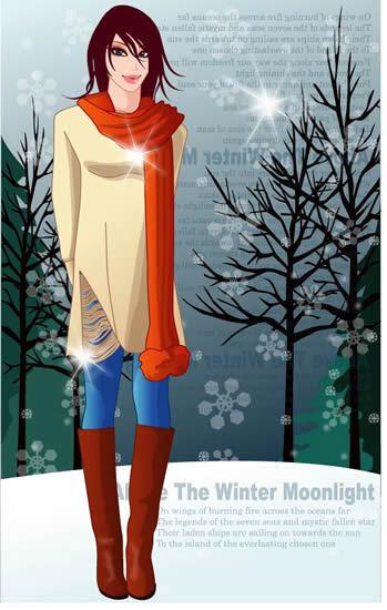冬天女性人物素材