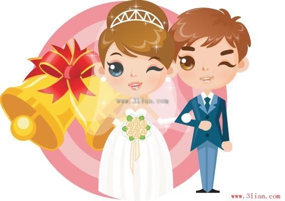 卡通新郎新娘