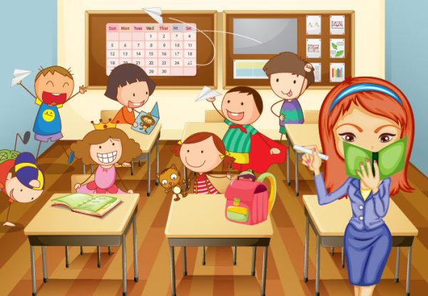 卡通教室插画矢量图免费下载-千图网www.58pic.com