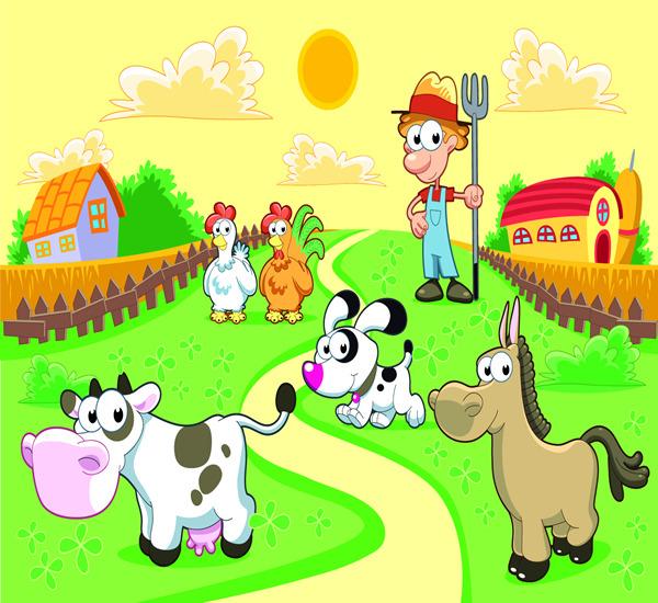 卡通牧场插画