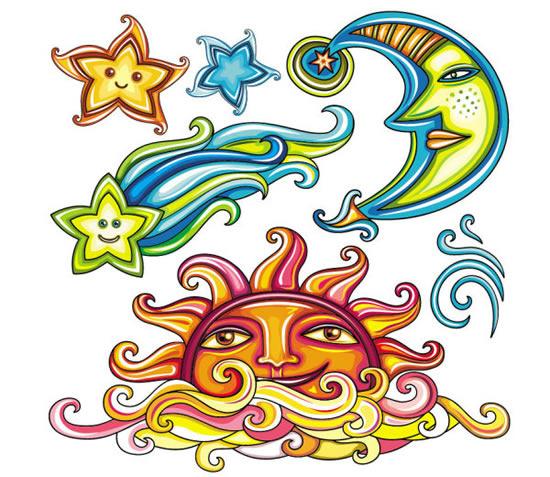 抽象星星月亮太阳插画
