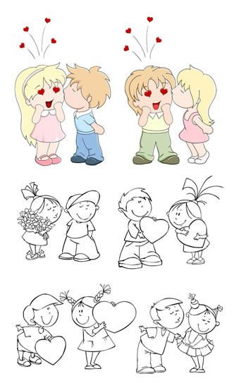 卡通小朋友矢量图免费下载-千图网www.58pic.com