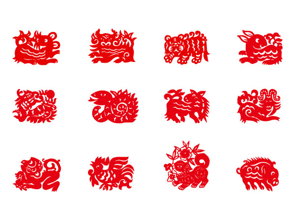 十二生肖剪纸图案