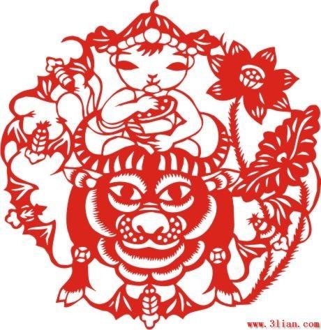 牛和娃娃剪纸矢量图免费下载-千图网www.58pic.com