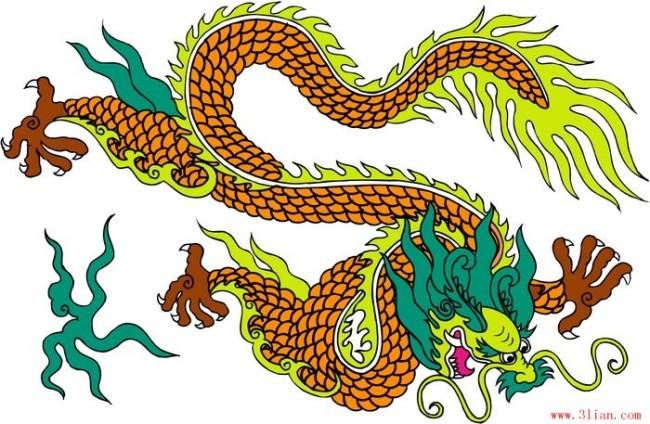 矢量中国古代龙纹