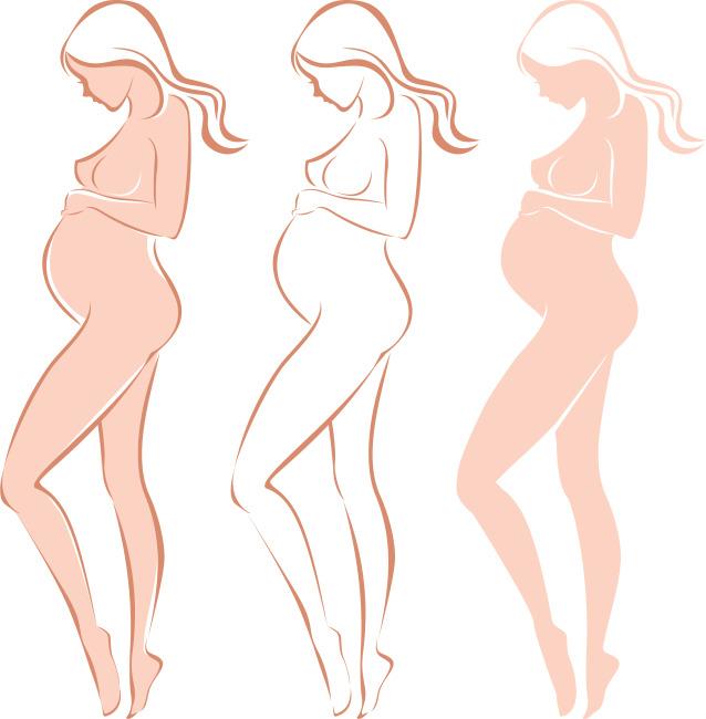 矢量手绘怀孕女性剪影素材
