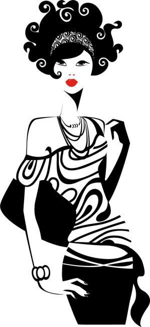 矢量手绘黑白线条时尚女性素材海报免费下载-千图网.