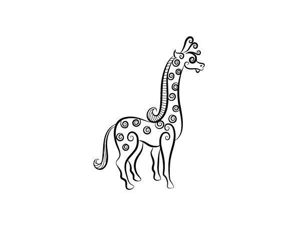 长颈鹿黑白花纹