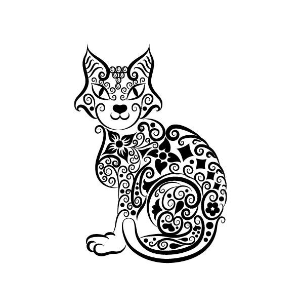 猫剪纸花纹