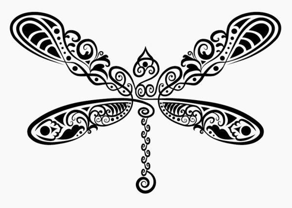 蜻蜓剪纸花纹免费下载