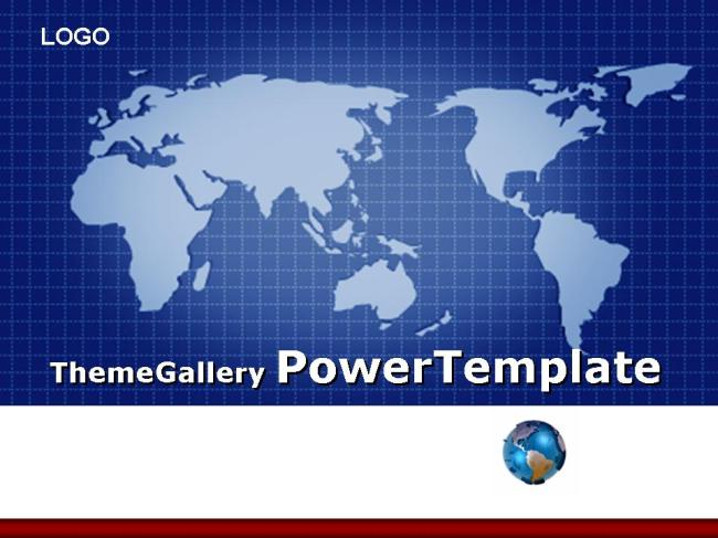 世界地图网格背景商务ppt模板