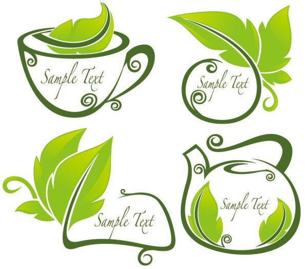 清新绿叶茶壶剪影图片