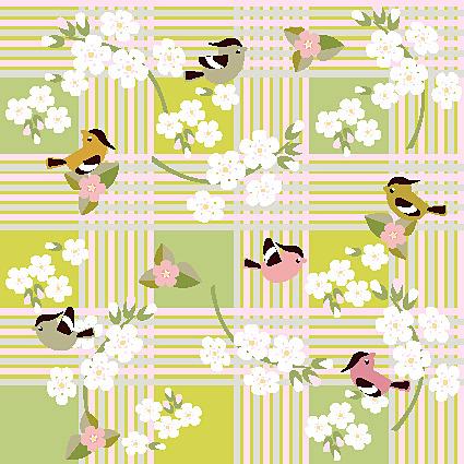 卡通花纹花朵小鸟图案