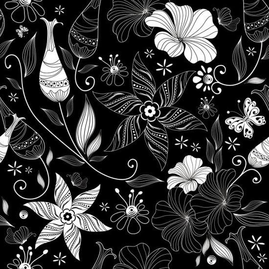 黑色背景花卉图案素材