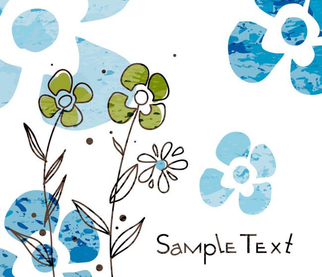矢量手绘花朵线稿枝叶素材