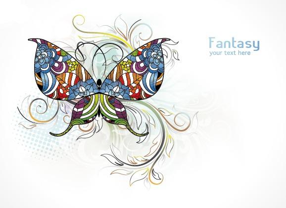 矢量绚丽彩色蝴蝶图案素材