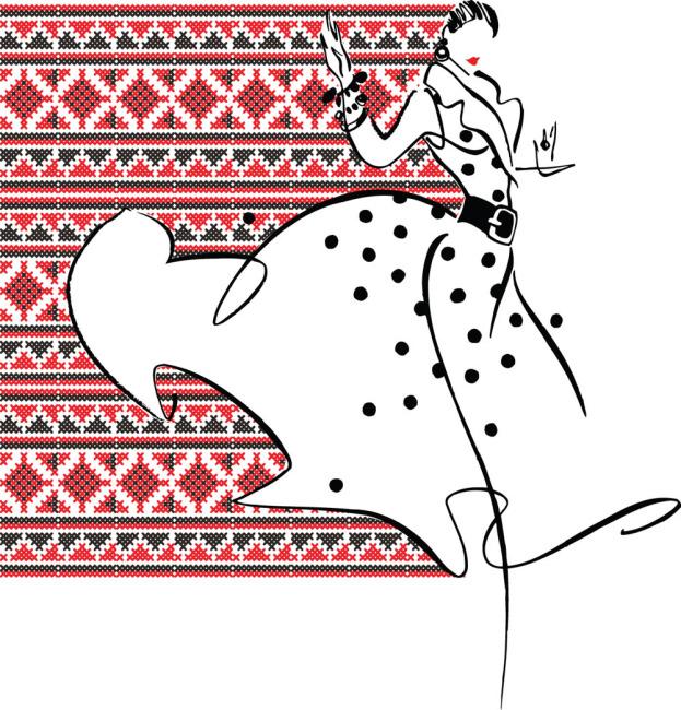 手绘美女 服装服饰 像素底纹 图片素材
